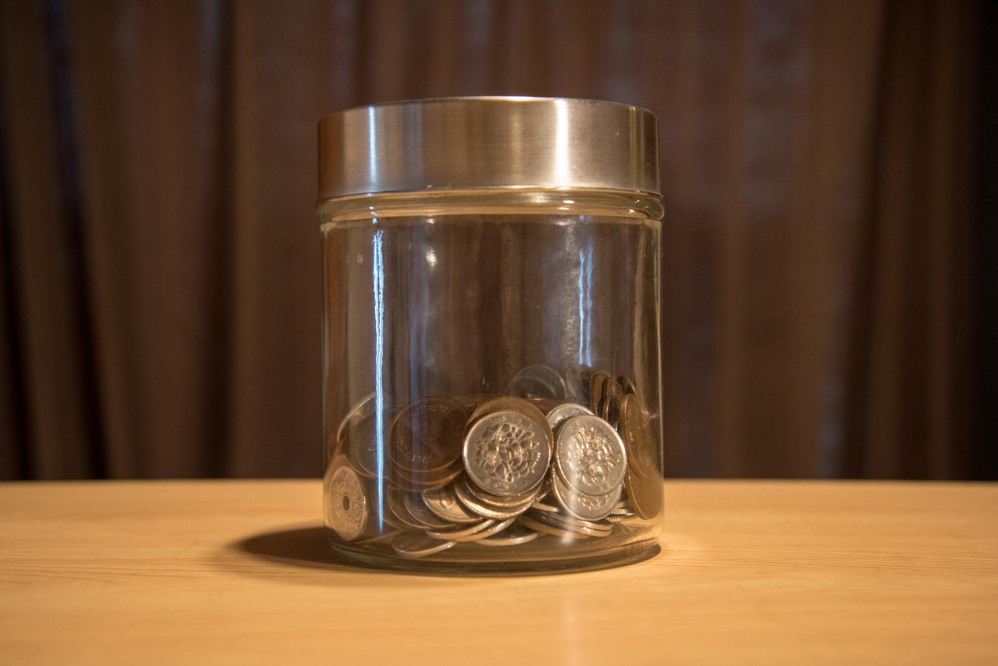 小銭貯金用のビン