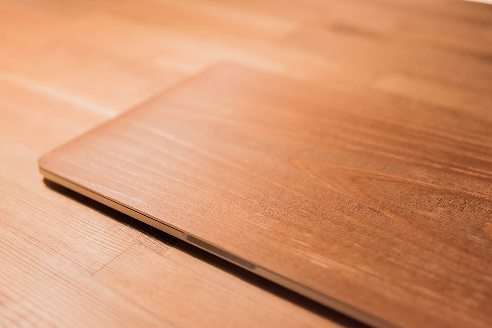 樹のシートを貼り付けたMacBook Pro